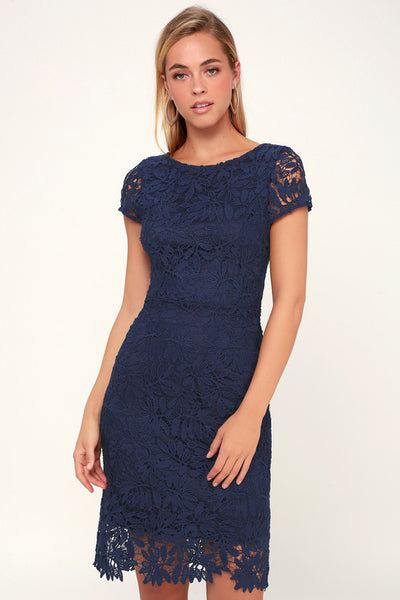 Right Sheer, Right Now Navy Blue Lace Bodycon Dress - Lulus