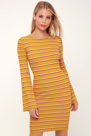 Rendezvous Mustard Yellow Striped Long Sleeve Bodycon Dress - Lulus