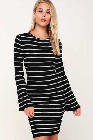 Rendezvous Black Striped Long Sleeve Bodycon Dress - Lulus