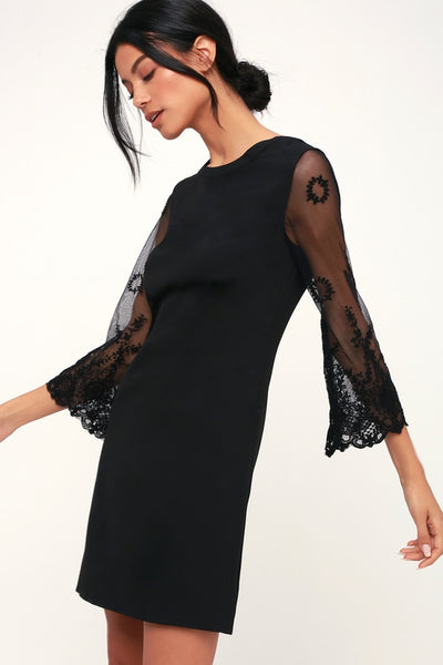 Once Upon A Midnight Black Embroidered Long Sleeve Shift Dress - Lulus