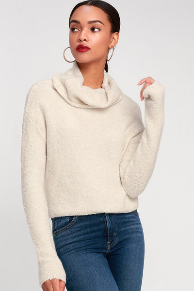 Stormy Cream Cowl Neck Sweater Top - Lulus