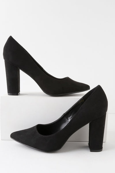 Callen Black Suede Pointed Toe Pumps - Lulus