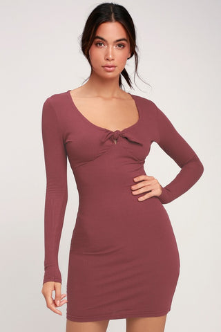 Knot Up Washed Burgundy Ribbed Tie-Front Bodycon Dress - Lulus