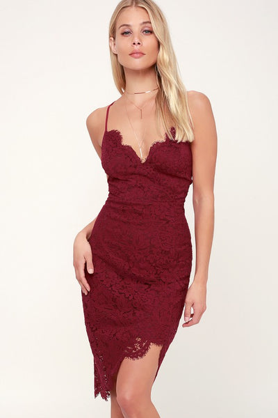Flirting with Desire Burgundy Lace Bodycon Dress - Lulus