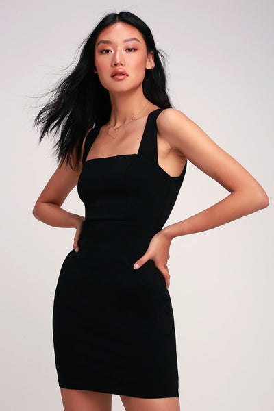 Sip of Champagne Black Square Neck Bodycon Dress - Lulus