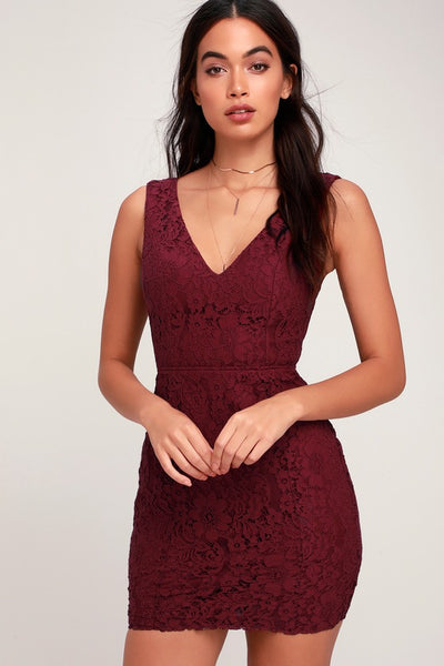 Nevaeh Burgundy Lace Cutout Mini Dress - Lulus