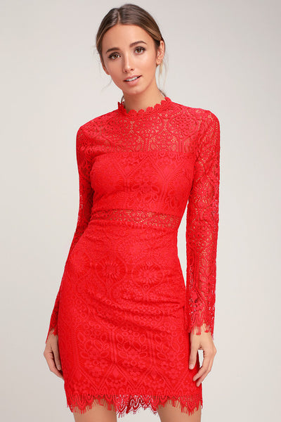 Appetite for Seduction Red Lace Long Sleeve Dress - Lulus