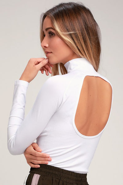 Like I Do White Backless Turtleneck Top - Lulus