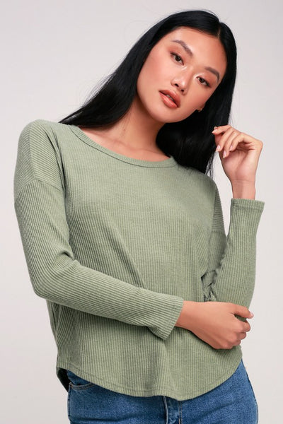 Baizen Washed Sage Green Ribbed Long Sleeve Top - Lulus