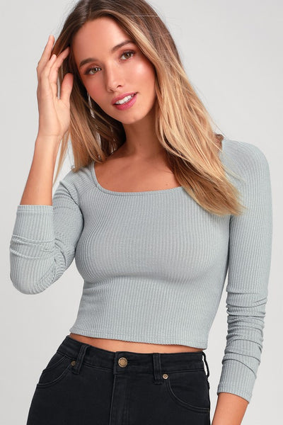Last Stop Slate Blue Ribbed Long Sleeve Crop Top - Lulus