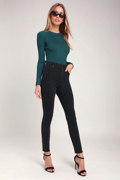 Eastcoast Ankle Washed Black High-Waisted Skinny Jeans - Lulus