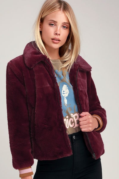 Tinnifer Burgundy Faux Fur Bomber Jacket - Lulus