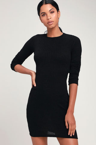 Put on Your Playlist Black Long Sleeve Bodycon Dress - Lulus