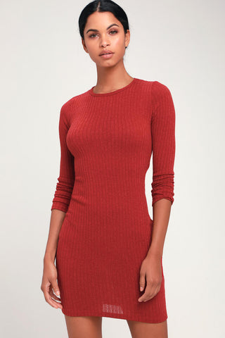 Put on Your Playlist Rust Red Long Sleeve Bodycon Dress - Lulus