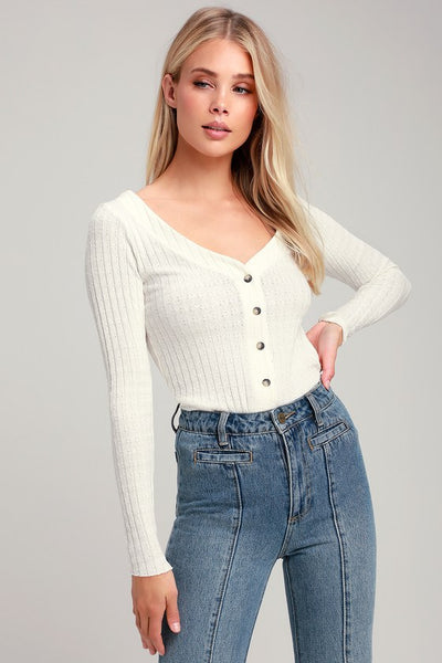 Lotta Love Ivory Button Front Knit Cardigan - Lulus