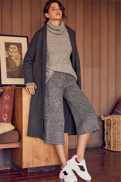 Clout-y Skies Ahead Charocal Grey Knit Culotte Pants - Lulus