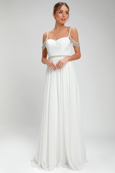 Love and Devotion White Beaded Maxi Dress - Lulus