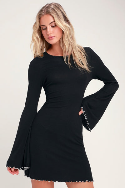 Cardiff Black Ribbed Bell Sleeve Lettuce-Edge Dress - Lulus