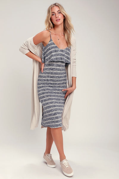 Castaway Navy Blue Striped Sleeveless Bodycon Midi Dress - Lulus