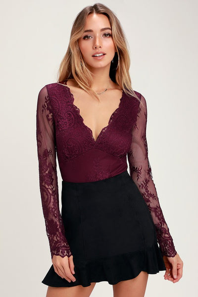 All About That Lace Burgundy Lace Long Sleeve Bodysuit - Lulus
