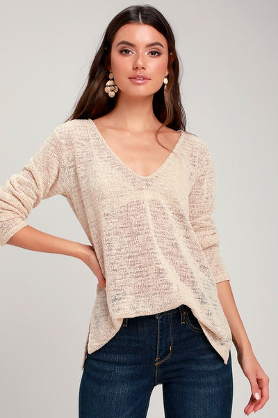 Stansbury Beige Loose Knit Sweater Top - Lulus