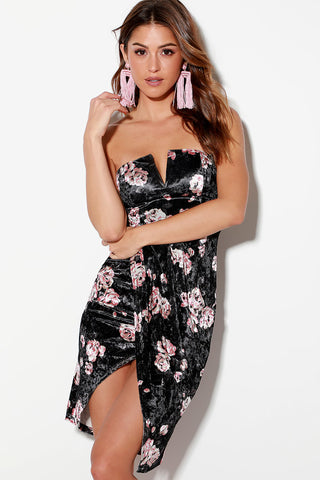 Ascolano Black Floral Print Velvet Strapless Bodycon Wrap Day Dress - Lulus