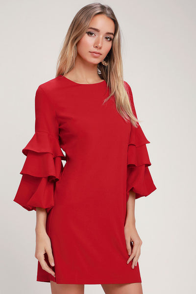 Anitta Red Ruffled Flounce Sleeve Shift Dress - Lulus