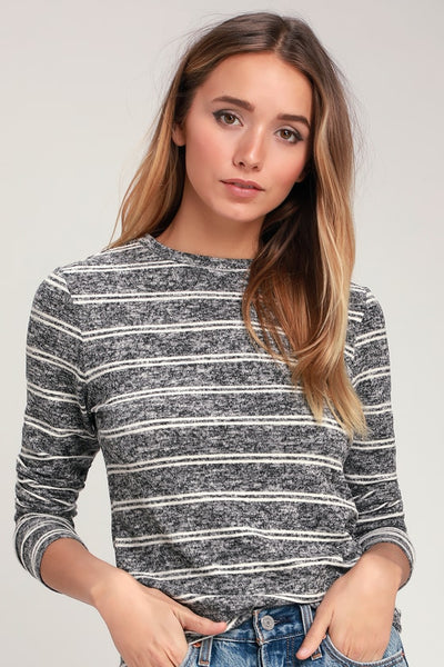 Capshaw Washed Black and White Striped Marled Sweater Top - Lulus