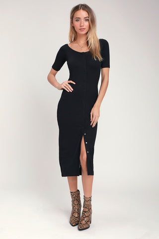 Dia Black Ribbed Button-Up Midi Dress - Lulus