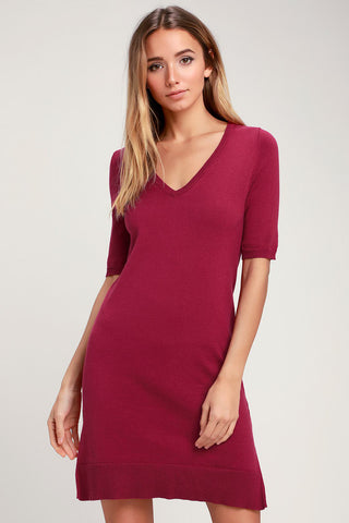 Ballad Berry Pink Half-Sleeve Sweater Dress - Lulus