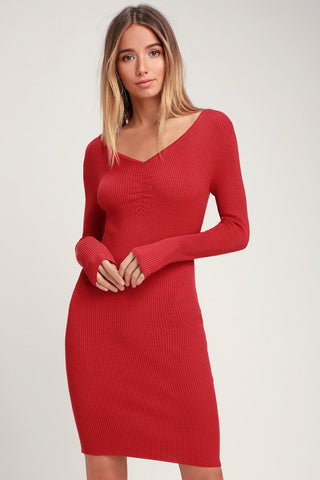 Stylish Silhouette Brick Red Ribbed Long Sleeve Bodycon Dress - Lulus