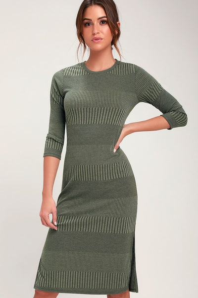 Parallel Dimension Olive Green Ribbed Midi Dress - Lulus