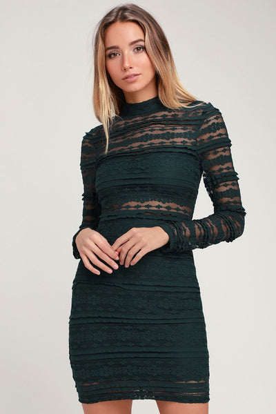 Reece Forest Green Lace Long Sleeve Bodycon Dress - Lulus