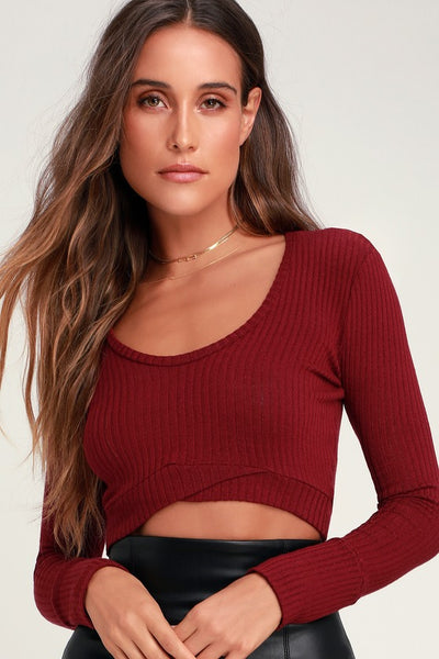 Liam Wine Red Ribbed Long Sleeve Crop Top - Lulus
