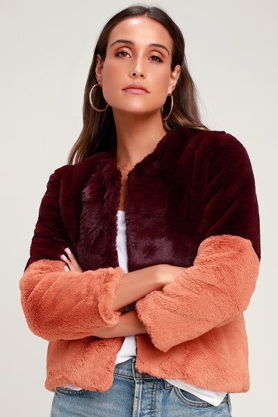 Out at Night Pink and Burgundy Color Block Faux Fur Jacket - Lulus