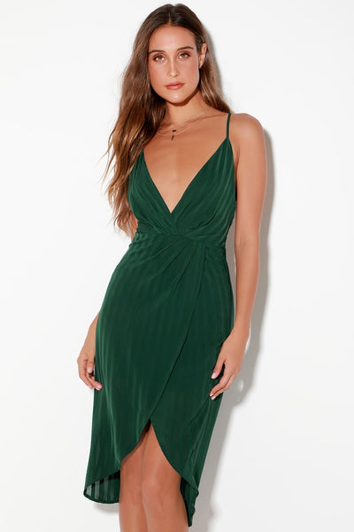 Panache Forest Green Backless Midi Dress - Lulus