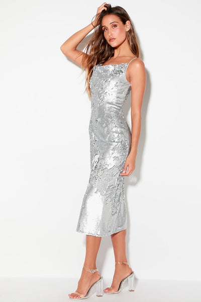 No Signs Silver Sequin Midi Dress - Lulus