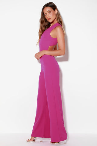 Thinking Out Loud Magenta Backless Jumpsuit - Lulus