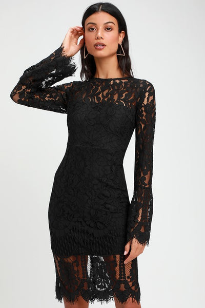 Enrapturing Elegance Black Lace Long Sleeve Midi Dress - Lulus