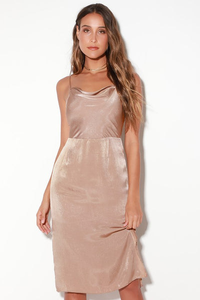 Doll Taupe Satin Sleeveless Midi Dress - Lulus