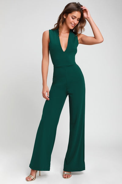 Thinking Out Loud Hunter Green Backless Jumpsuit - Lulus