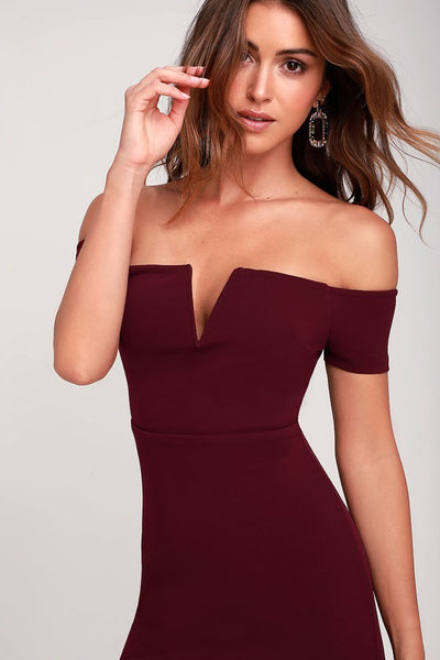 Cheers to This Burgundy Off-the-Shoulder Bodycon Dress - Lulus