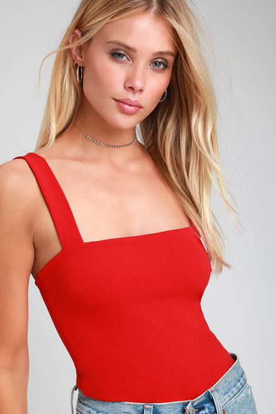 Symbolize Red Sleeveless Bodysuit - Lulus