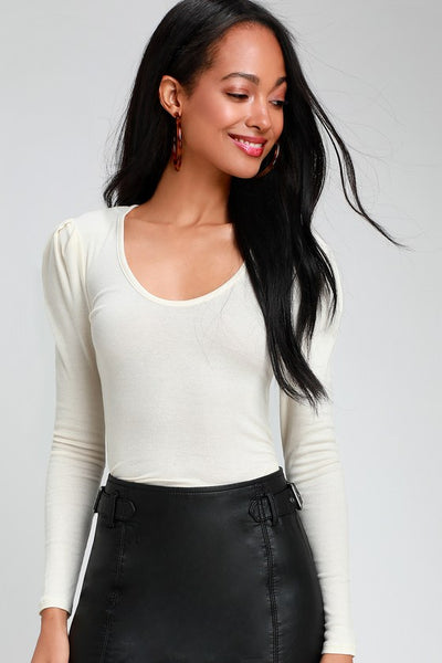 Hey Lady Ivory Ribbed Long Puff Sleeve Top - Lulus