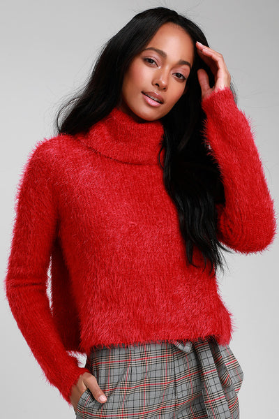 Bat Your Lashes Red Eyelash Knit Turtleneck Cropped Sweater - Lulus