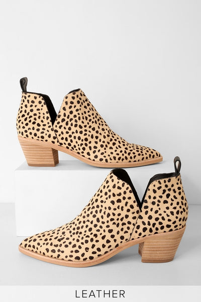 Sonni Leopard Calf Hair Ankle Booties - Lulus