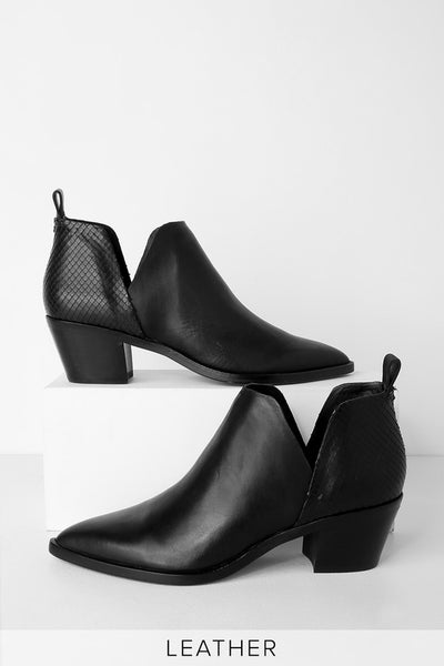 Sonni Black Leather Ankle Booties - Lulus