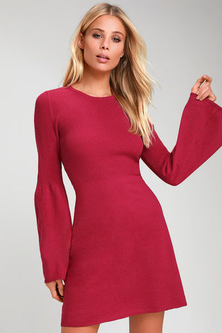 Tabitha Berry Red Bell Sleeve Sweater Dress - Lulus