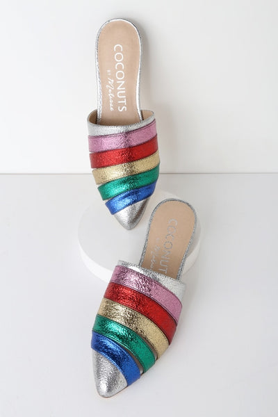 Wild One Rainbow Pointed Toe Mules - Lulus
