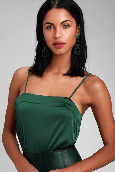 Luxe Be a Lady Hunter Green Satin Bodysuit - Lulus
